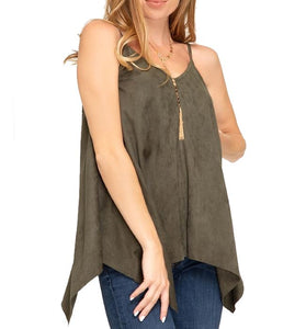 Sleeveless Faux Suede Camisole