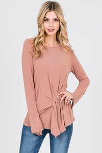 Long Sleeve Front Pleat Top