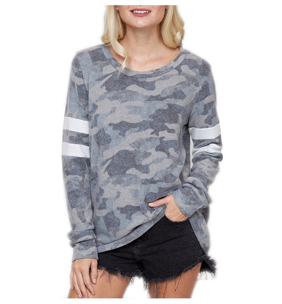 Long Sleeve Camouflage Varsity Stripe Top