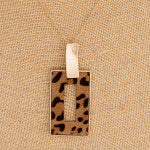Furry Faux Leather Leopard Print Square Pendant