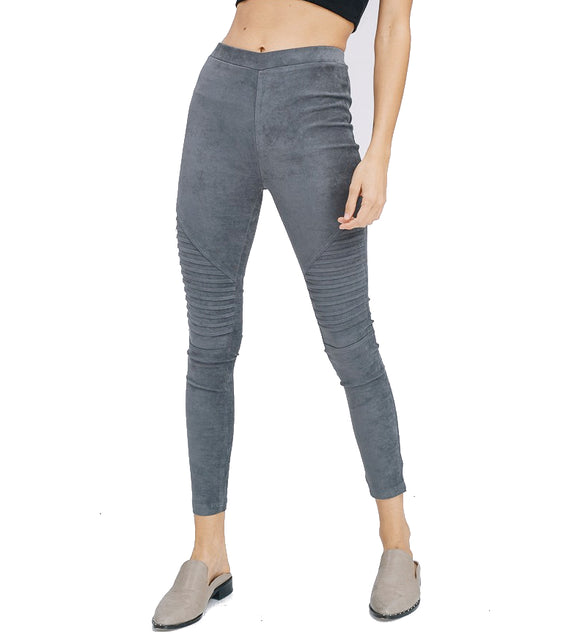 Suede Moto Leggings in Grey