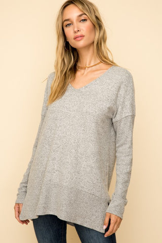 V-Neck Ribbed Sleeve Pullover