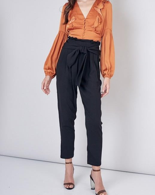 High Waist Bow Detail Cropped Pants