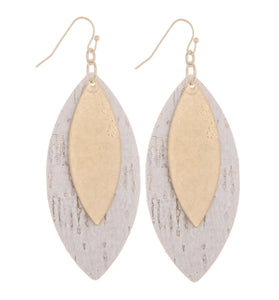 Double Leaf Cork Earring