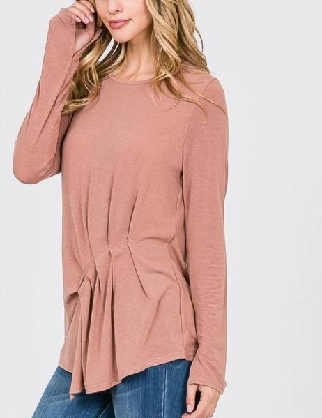 Asymmetrical Front Pleat Long Sleeve Top