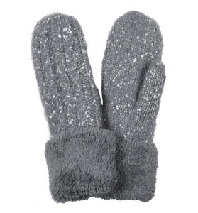 Soft Mohair Mittens With Fuzzy Trim