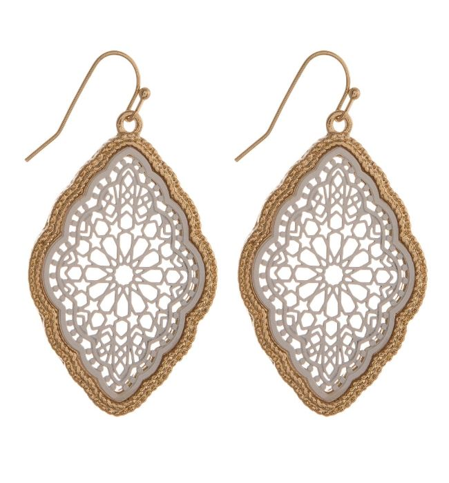 Moroccan Inspired Fishhook Earrings in White