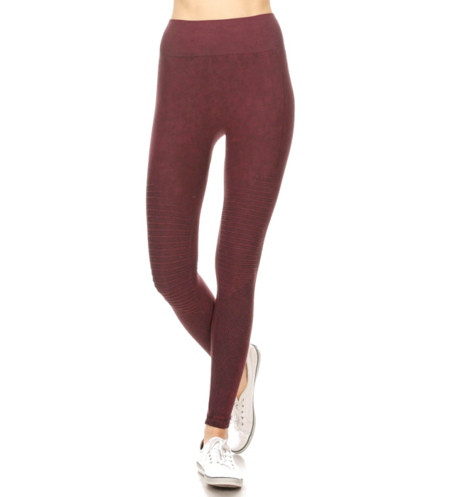 Moto Leggings in Wine