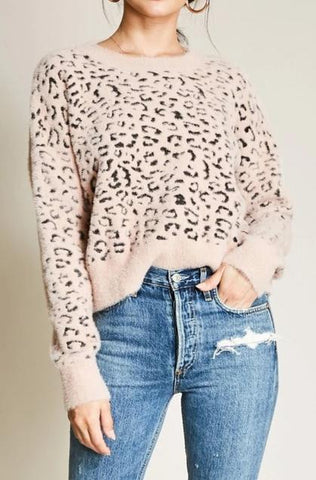 Crew Neck Fuzzy Knit Leopard Sweater