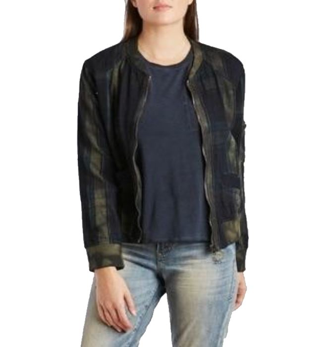 Mineral Washed Plaid Bomber Jacket