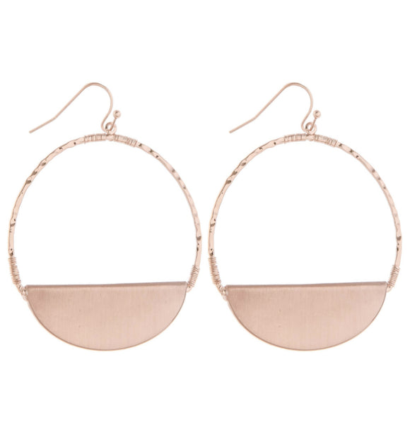 Rose Gold Fishhook Earrings with Plate