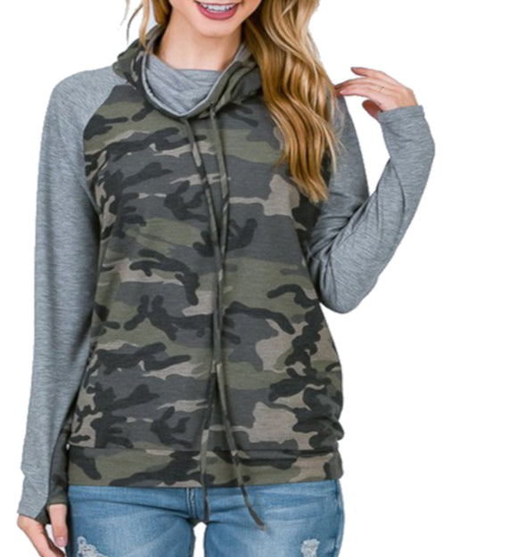 Fun Raglan Sleeve Camo Cowl Neck Sweater