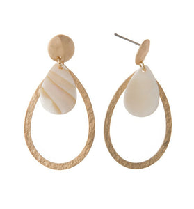 Teardrop Stud Earrings with Natural Shell Detail