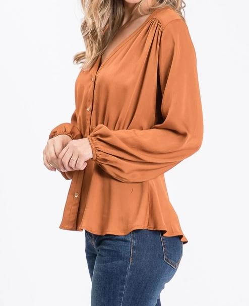 Solid Satin Long Sleeve Blouse