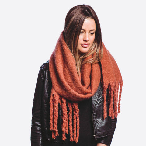 Soft Touch Oblong Scarf With Fringe