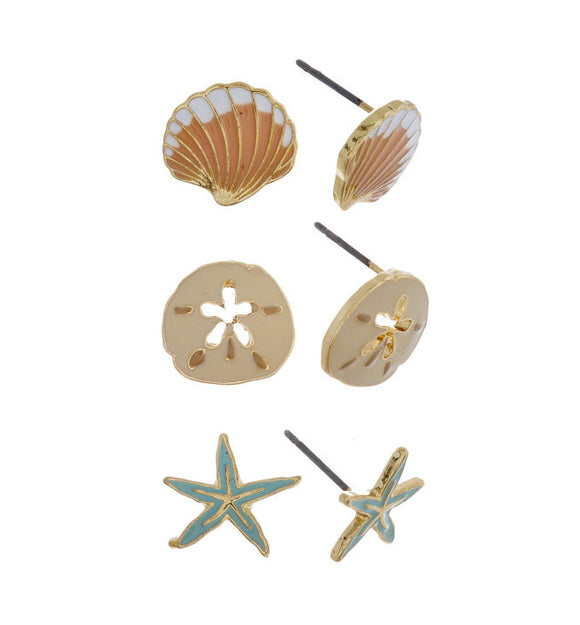Three-Pair Sea Stud Earrings