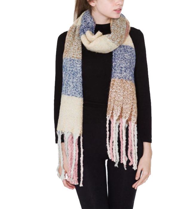 Oversized Light Blue, Cream and Blush Scarf