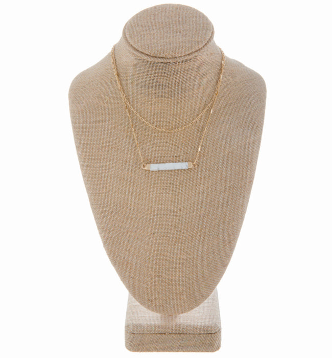 Long Necklace with Stone Bar