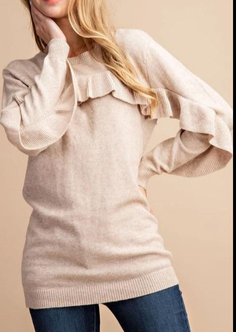 Ruffle Trim Long Sleeve Knit Sweater