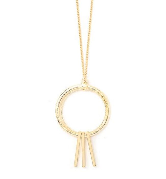 Gold Metallic Double Hoop Necklace