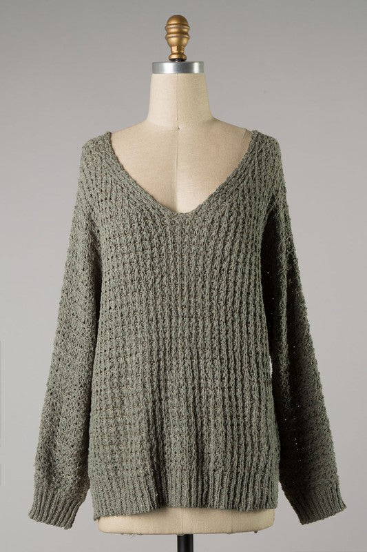 V-Neck Soft Knit Sweater