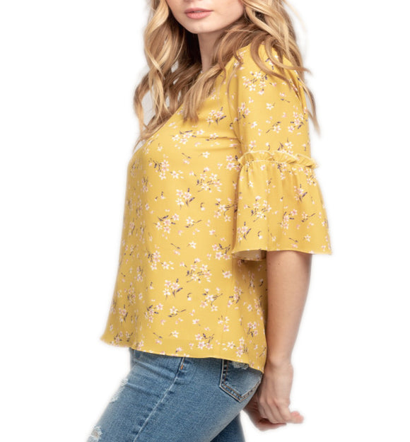 Yellow Floral Ruffle Top
