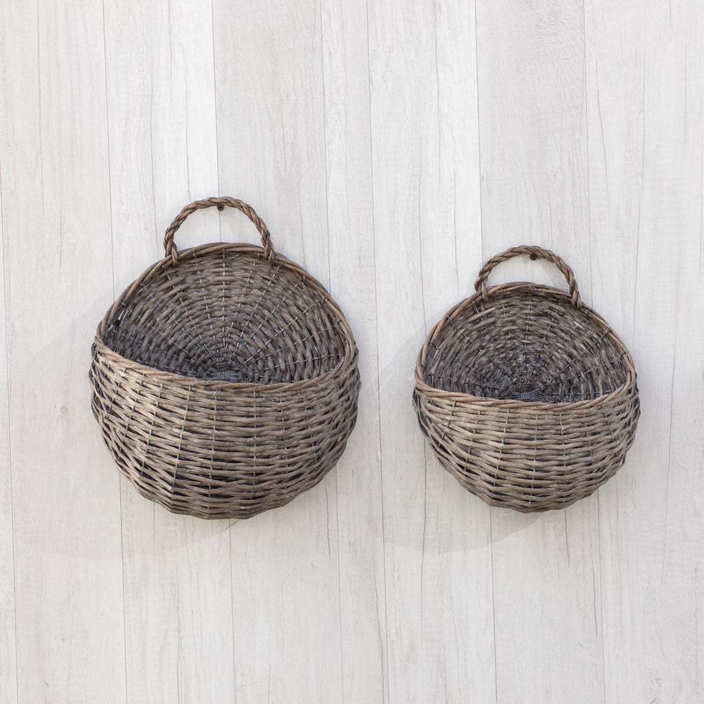 *Preorder* SET OF 2 GREYWASH ROUND WALL BASKETS