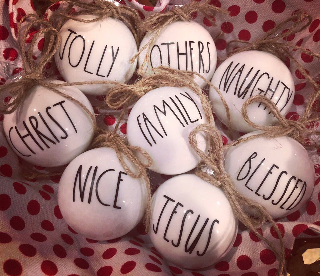 Rae Dunn inspired ornaments