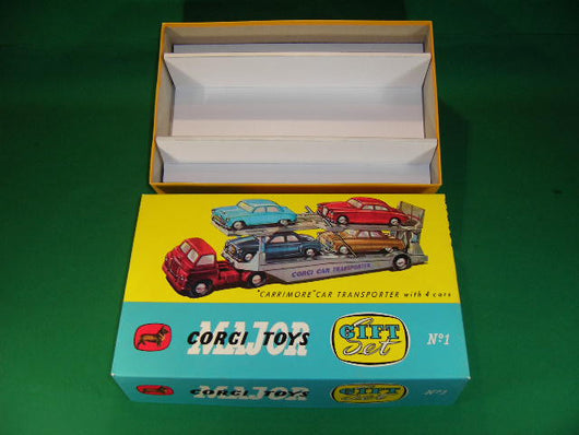 Corgi Toys. Gift Set #1A Carrimore Car Transporter with 4 cars.
