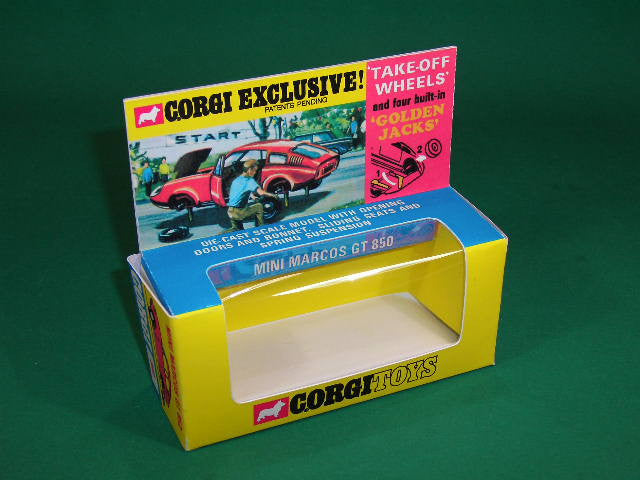 Corgi Toys #341 Mini Marcos GT 850 - 'Golden Jacks'.
