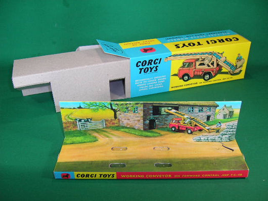 Corgi Toys # 64 Working Conveyor on F. C. 150 Jeep  - with figure and sacks.