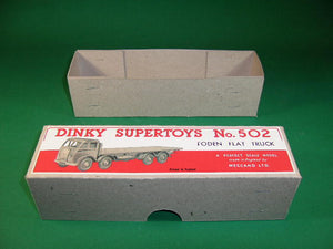 Dinky Toys #502 Foden Flat Truck 1st cab - plain board.