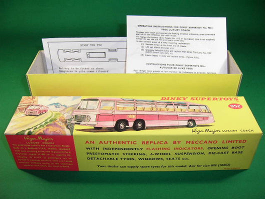 Dinky Toys #952 Vega Major Luxury Coach (with lights) - lid & base type box.