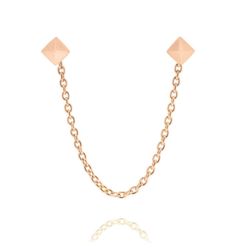 PYRAMID STUD WITH CHAIN | ROSE GOLD