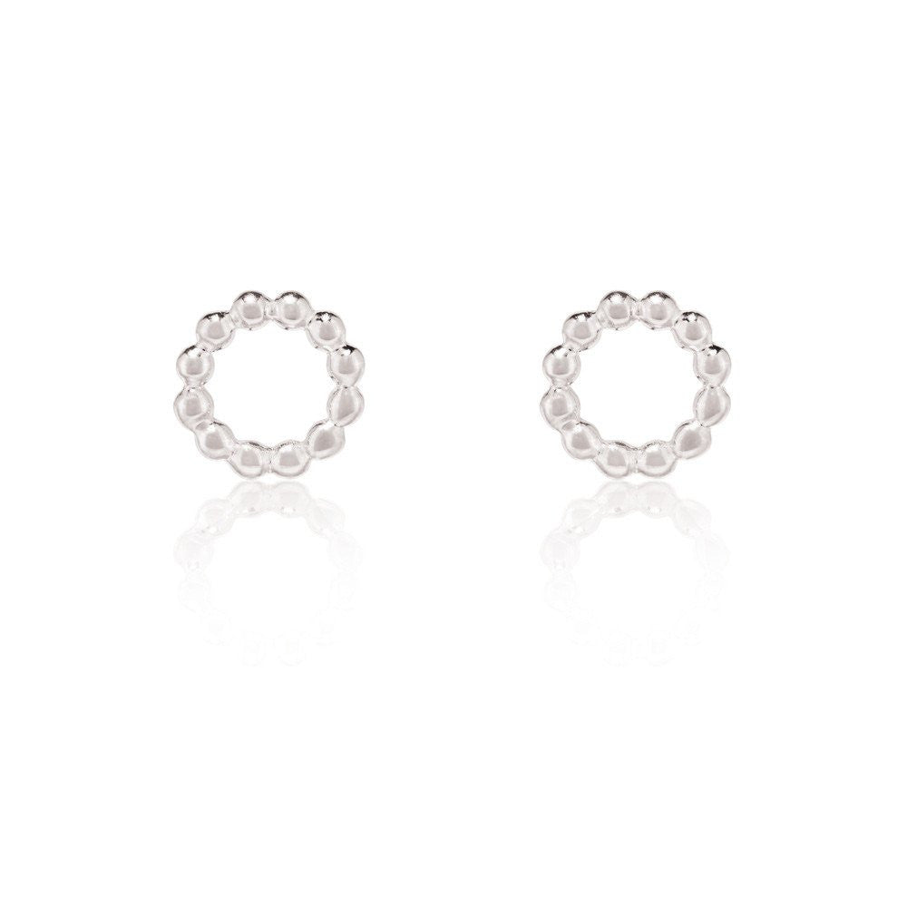 BEADED CIRCLE STUDS | SILVER