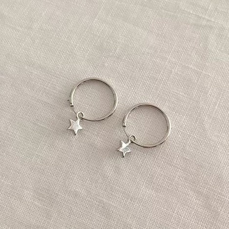 TINY STAR HOOPS | SILVER