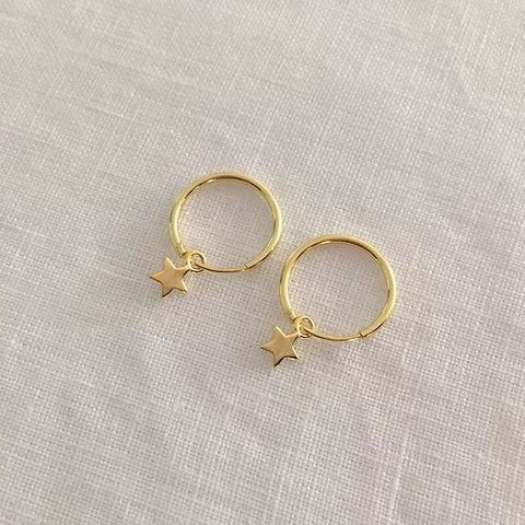 TINY STAR HOOPS | GOLD