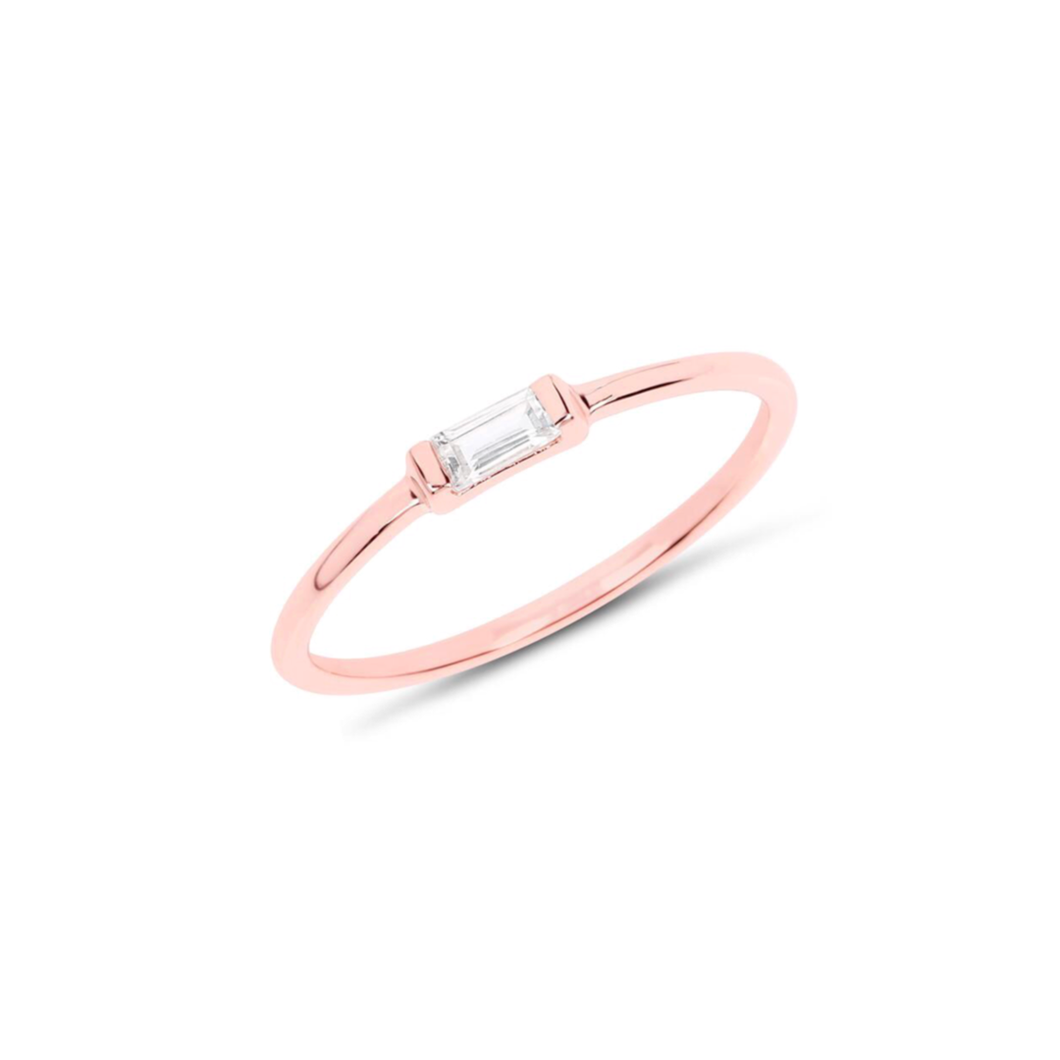 TINY BAGUETTE RING | ROSE GOLD