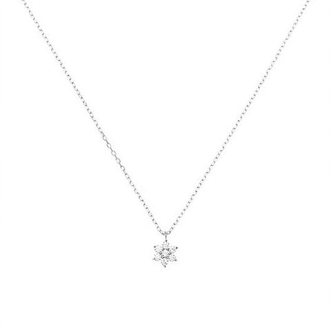 CZ FLOWER NECKLACE | SILVER