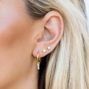 CZ HOOP EARRINGS | ROSE GOLD
