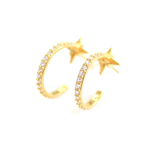 DIAMOND STAR HOOPS | GOLD