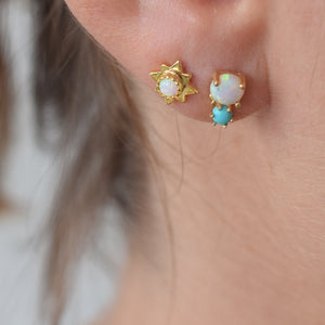 TURQUOISE DUBLET STUDS | GOLD