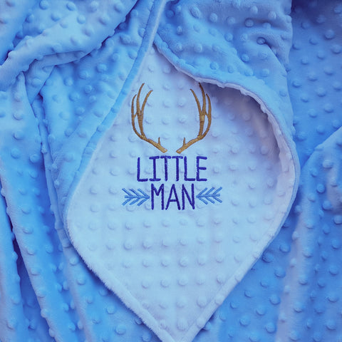 Little Man (Blue) 30x36 Ready To Ship Blanket