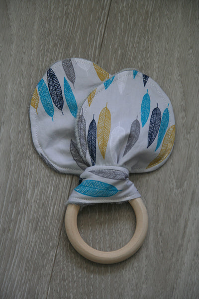 """Fine Feathers"" Bunny Ear Teething Ring"