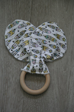 """For The Birds"" Bunny Ear Teething Ring"