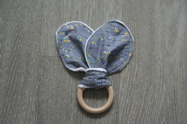 """Dream Catcher"" Bunny Ear Teething Ring"