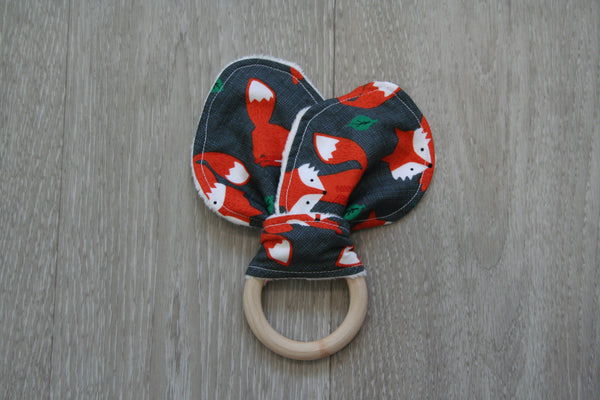 """Clever Fox"" Bunny Ear Teething Ring"