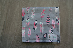 """Pink Feather"" Burp Cloth"