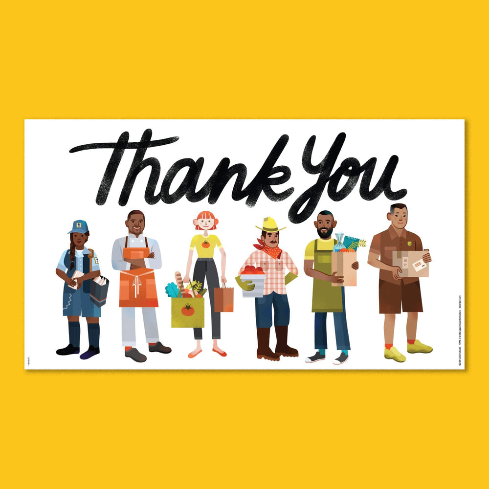 Essential Workers Thank You Poster - Food and Delivery