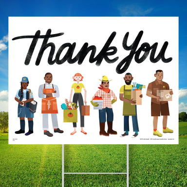 Essential Worker Thank You Yard Sign - Food and Delivery